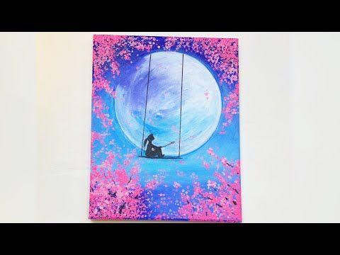 Comment Peindre La Lune Coloree Facile Sur Toile Acylique Youtube Peinture Sur Toile Facile Toiles De Peinture Idees De Peinture Sur Toile