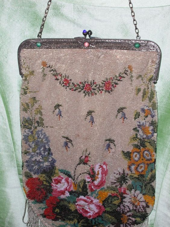 Vintage beaded purse antique flower pattern