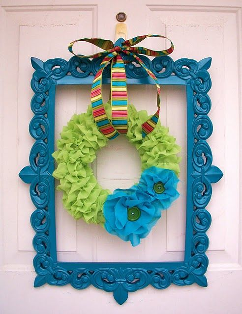 Love this idea, but maybe do different colors: Framed Wreath, Wreath Ideas, Diy Project, Spring Wreaths