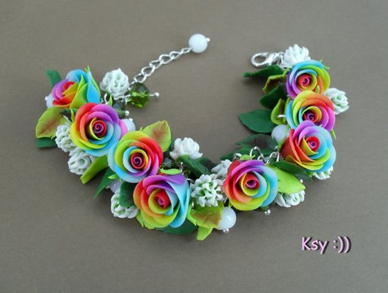 Arc-en-ciel Roses Bracelet arc-en-ciel bijoux par BeatifulByKsy