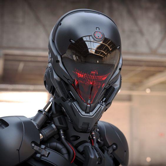 """rhubarbes: """" ArtStation - Robot head model, by Aaron Deleon """""""