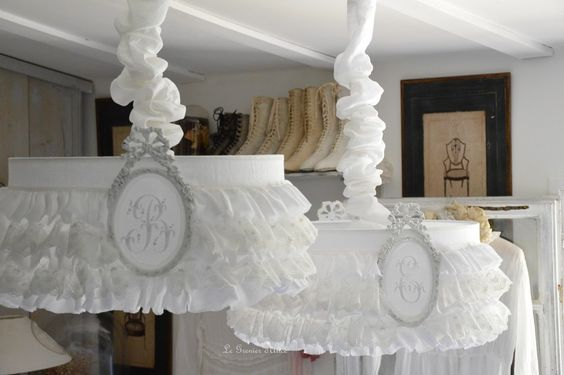 Suspension shade ruffled lace and linen driving shabby chic ruffle lamp shade
