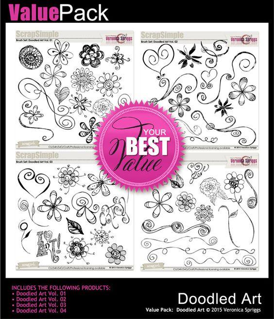 Value Pack: Doodled Art Brush Set by Veronica Spriggs at Scrapgirls.com