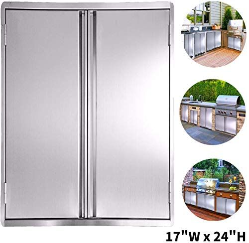 New Ciogo Bbq Access Door 17x24 Inch Double Wall Outdoor Kitchen Door 304 All Brushed Stainless Steel Double Bbq Door Bbq Island Outside Cabinet Barbecue Gr In 2020 Outdoor Kitchen Bbq