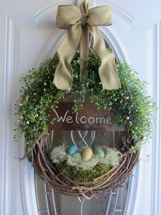 Spring Door Wreath Easter Wreath Welcome by DoorWreathsByDesign: