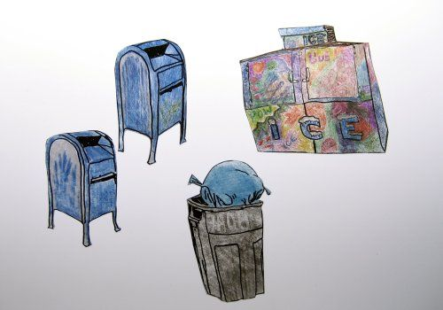 plastic shrink art = recycled to go containers