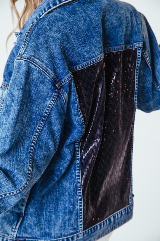 super popular hot sale online another chance Boyfriend Denim Jacket with Sequin Paneling in 2019 | Denim ...