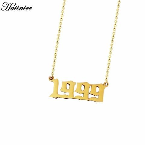 Personalized Old English Number Necklaces Women Custom Jewelry Year 1991 1992 1993 1994 1995 1996 1997 1998 1999 Bir Number Necklace Womens Necklaces Necklace