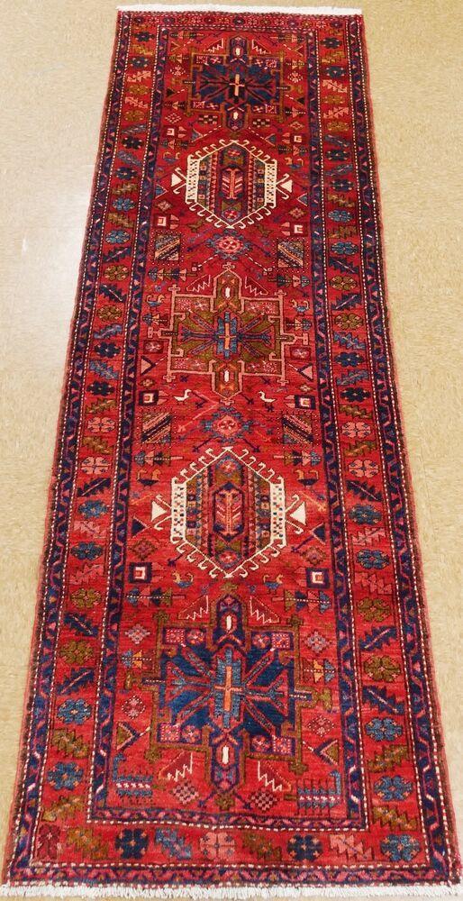 Persian Karajeh Rug Runner Tribal Hand Knotted Wool Red Blue Oriental 3 4 X 10 8 Persiankarajehtribalg Oriental Rug Runners Blue Oriental Rug Red Oriental Rug