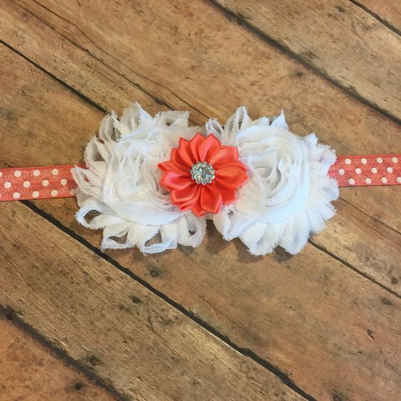 Coral and white Shabby Flower headband  - Hairbow - Newborn Baby - Little Girls Hair Bow - elastic band - foe - elastic, flowers, new by BBgiftsandmore on Etsy