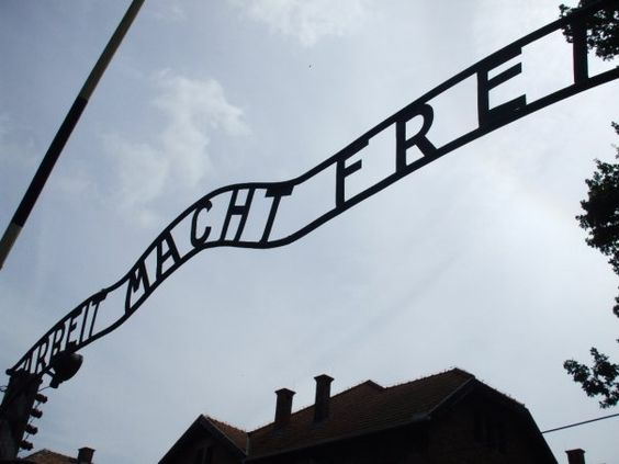 Auschwitz. This is the original sign. A month later it was stolen, though thankfully recovered not long after.