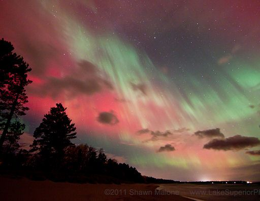 The NASA Space Weather Laboratory reported that a massive Coronal Mass Ejection (CME) struck the Earth's magnetic field at approximately 2PM EST on October 24th, 2011.  The CME (solar storm) caused a geomagnetic storm that lit up the sky with dramatic Northern Lights (aurora borealis).  Observers have reported vivid auroras as far south as Alabama and Georgia.