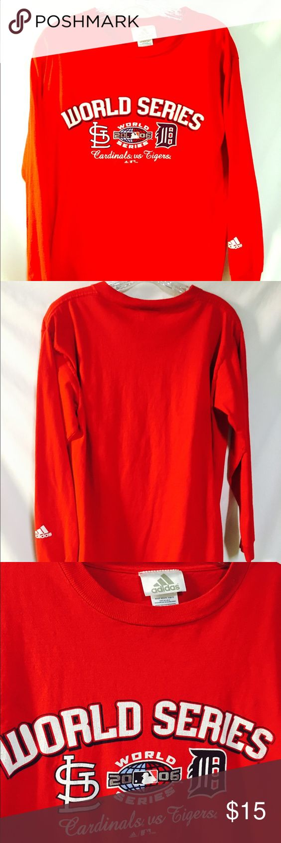 ⚾️ Adidas St Louis Cardinal long sleeve tee⚾️ Long sleeve Circa 2006, St Louis Cardinal, World series tee shirt between the Cardinals & Tigers. The camera lighting makes one sleeve look faded but it isn't. If interested, I can post another photo.  Adidas Tops Tees - Long Sleeve