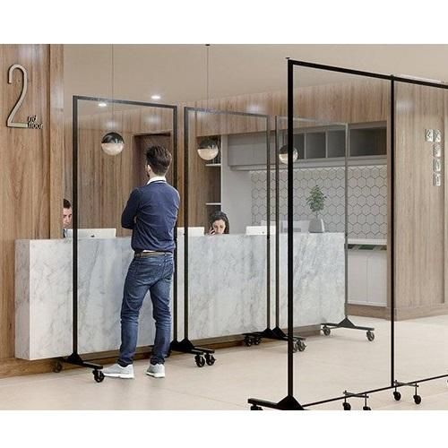 Custom Free Standing Social Distancing Floor Barrier Germ Shield Tablebasedepot Sneeze Guard Diy Room Divider Divider