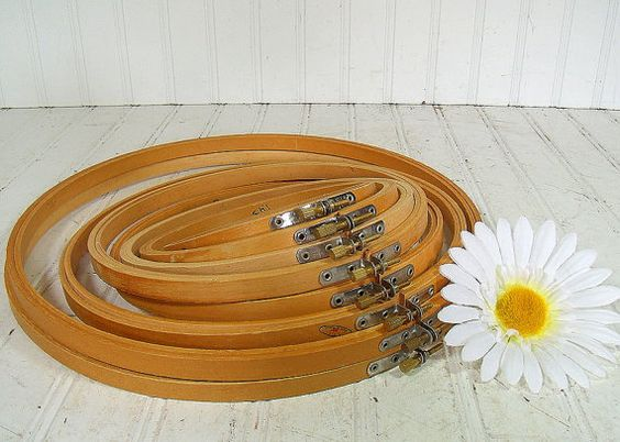 Wooden Round Embroidery Hoops Set of 8 - Vintage Sewing Essentials - Repurpose Craft Frames