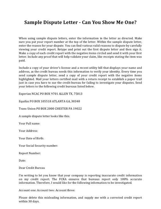 Sample credit dispute letter template credit repair for Free 609 dispute letters
