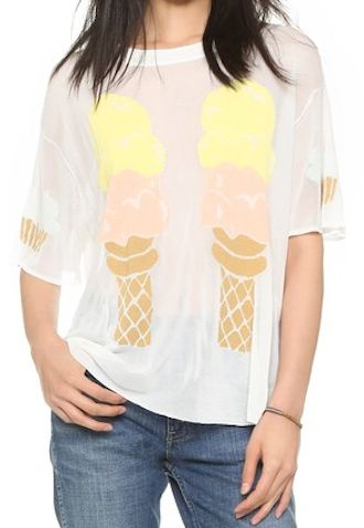 knit ice cream print lightweight sweater
