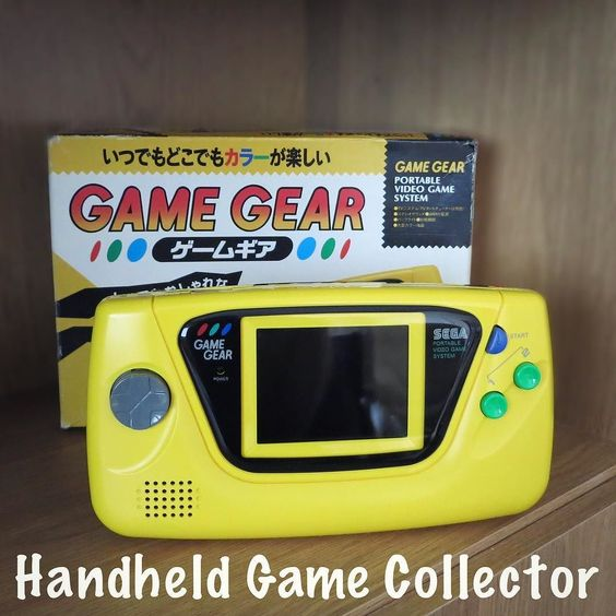 Interesting one by handheld_game_collector #gamegear #microhobbit (o) http://ift.tt/20F7xkk box and yellow Game Gear in perfect harmony.