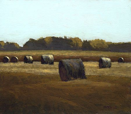 Iowa Hay Rolls, 6 x 7 inches, oil on panel. Marc Bohne
