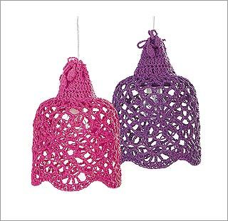 Lámparas a todo color:  Pantallas de croché