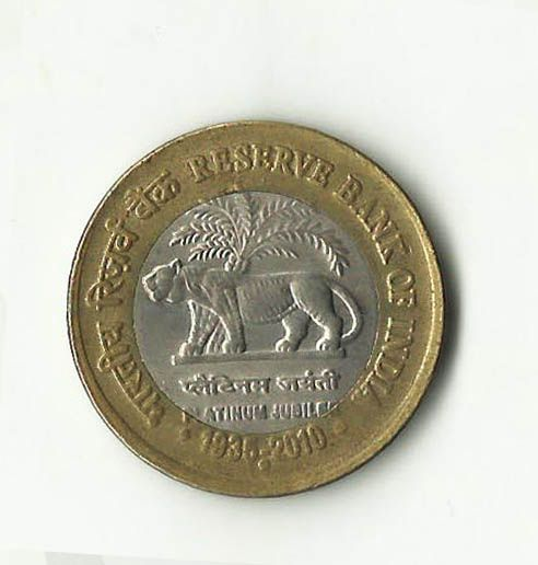 Reserve Bank Of India Platinum Jubilee 10 Rupees Coins Coins