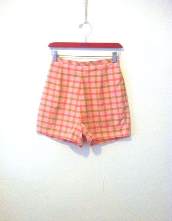 green and pink high-waisted plaid shorts by ThriftSvpply on Etsy
