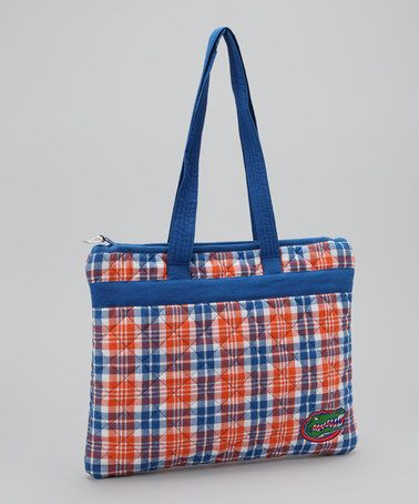 Take a look at this Blue & Orange Plaid Florida Oversize Tote by Pomegranate Collegiate on #zulily today!