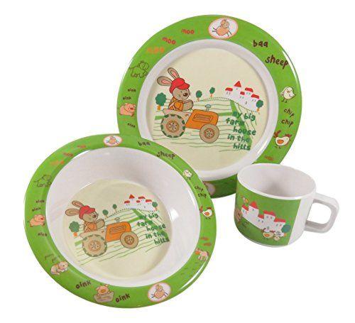 Adorable Easter Kids Children Dinnerware Melamine Rabbit Cup Bowl Plate Set Green White 3 Piece Easter Kids Plate Sets Plates And Bowls