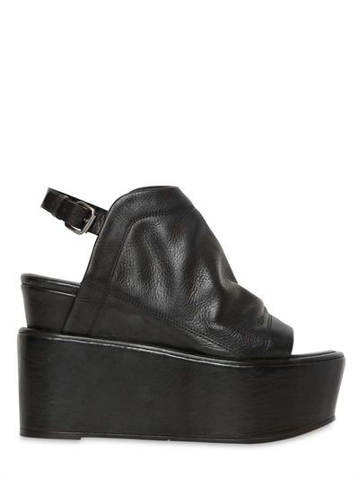 ELENA IACHI - 110MM NAPPA LEATHER OPEN TOE SANDALS - LUISAVIAROMA