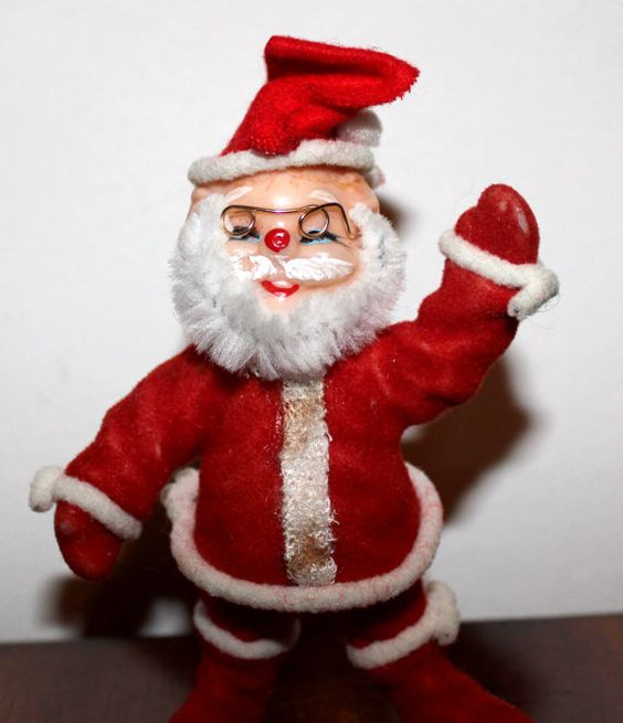 Vintage Plastic Santa Figure w/ Glasses by ThingsNStuffYouNeed