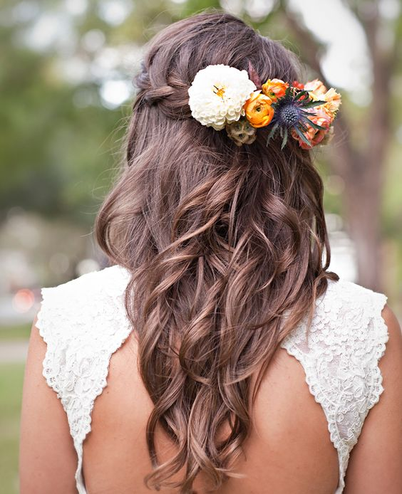 Fall wedding hair. Love this. I would probably require little smaller on the flowers.:
