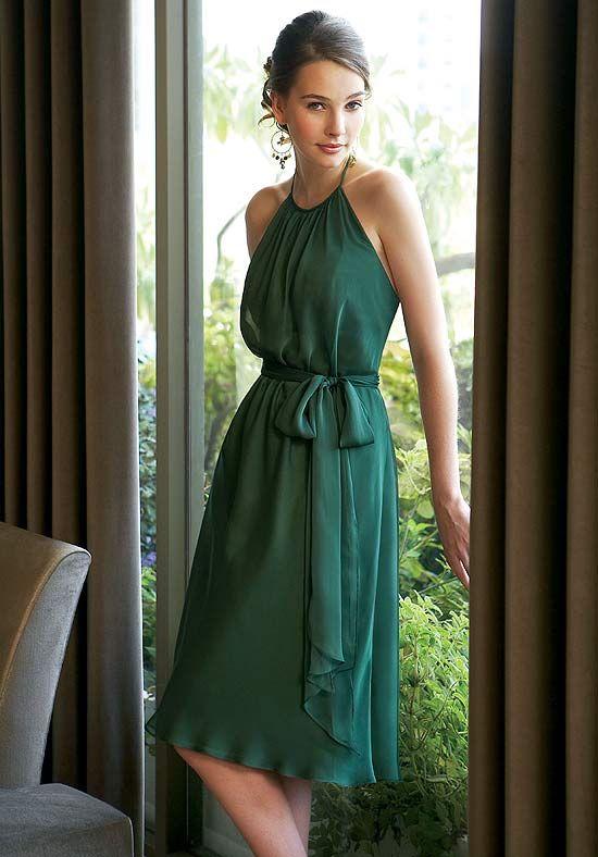 2012 Cute Green Chiffon Halter Sash With Bowknot Knee Length Bridesmaid Dress