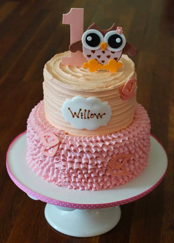 I love this one just how it is. I love the peach, pink, and brown colors and the super cute owl. Textures/frosting technique can be changed to whatever you would like to do.