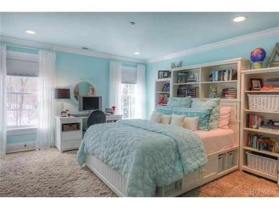 This Tiffany Blue bedroom is so beautiful. With its large ...
