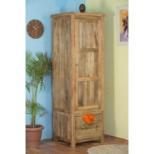 Anahuac 1 Door Wardrobe Union Rustic Tall Cabinet Storage Hanging Rail Storage Spaces