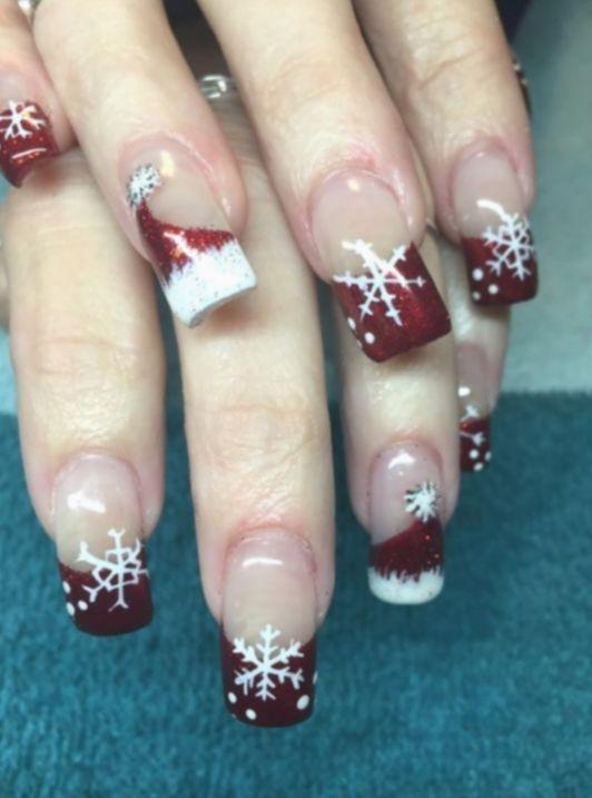 9 Christmas Nails Holiday Disney In 2020 Santa Hat Nails Holiday Nails Christmas Nail Art Designs