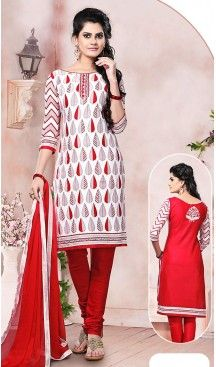 White and Red Color Cotton Fabric Stitched Churidar Suit with Dupatta #casual, #salwar, #kameez, #online, #trendy, #shopping, #latest, #collections, #summer,#shalwar, #hot, #season, #suits, #cheap, #indian, #womens, #dress, #design, #fashion, #boutique, #heenastyle, #clothing, #cotton, #printed, #materials, @heenastyle