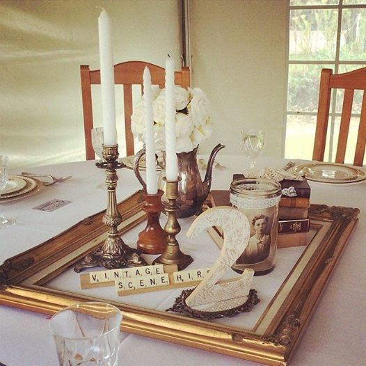 Vintage picture frame centerpiece teapot candle stick
