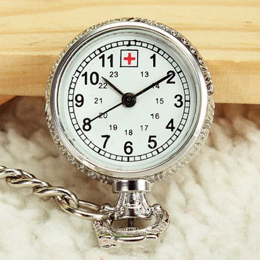 Doctor Nurse Silver Chain Cross Pendant Brooch Quartz