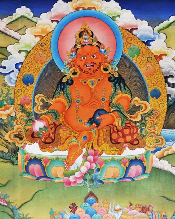 (Yellow Kubera 黃財神)  Om Jambhala Jalendraye Svaha