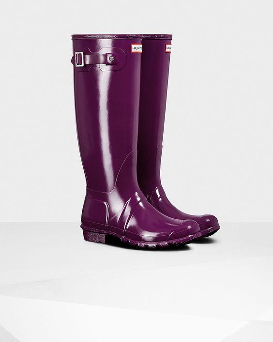Womens Purple Tall Gloss Rain Boots | Official US Hunter Boots ...