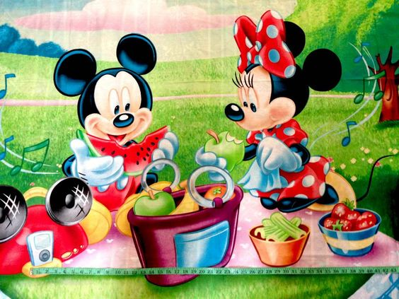 minnie and mickey picnic | Details about DISNEY MICKEY MINNIE PICNIC Panel…