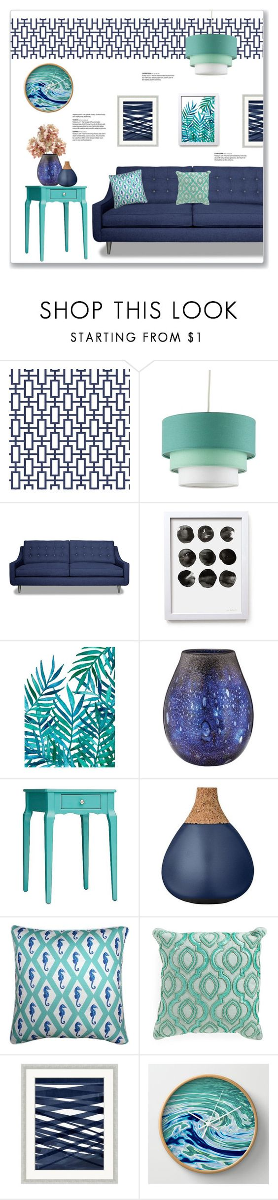 """""""Teal & Navy Living Room"""" by kellylynne68 ❤ liked on Polyvore featuring interior, interiors, interior design, home, home decor, interior decorating, Waterford, Inspire Q, Bloomingville and Pillow Decor"""