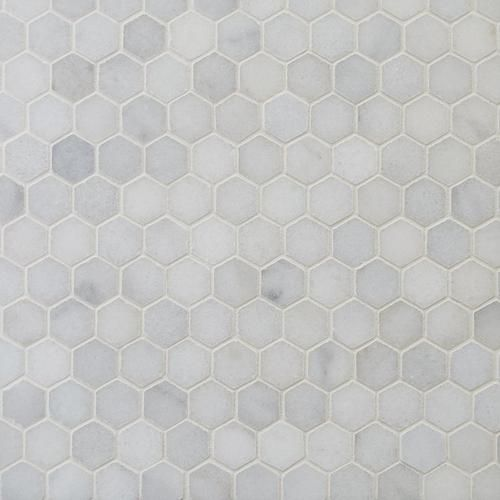 Carrara Chateau 1 In Hexagon Honed Marble Mosaic In 2020 Hexagon Marble Tile Marble Mosaic Marble Shower Tile