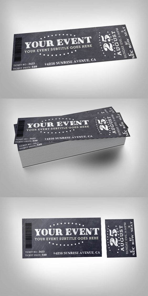 chalkboard event ticket design fundraisers and ticket