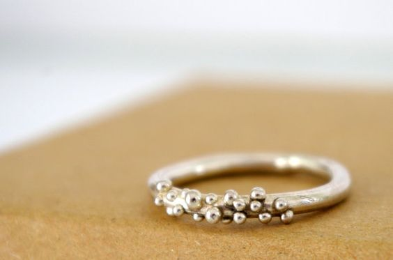 Sterling Silver Bubble Ring Dot Ring Stack Ring Organic Jewelry Granulation