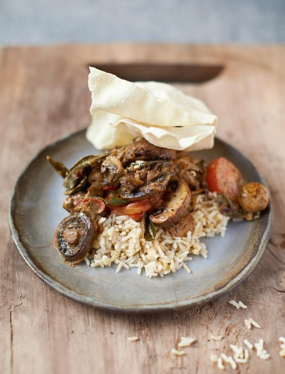 Jamie Oliver's Mighty Mushroom Curry Red Lentils, Brown Rice and Poppadoms-a  recipe from his latest book, Everyday Super Food. Mushrooms are a great source of essential B vitamins, which help our metabolism function.