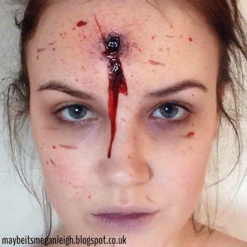 Maybe Its Megan Leigh: Halloween Makeup - Gun Shot To The Head http://maybeitsmeganleigh.blogspot.co.uk/2013/10/halloween-makeup-gun-shot-to-head.html