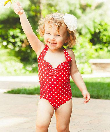 This Girls Red & White Polka Dot One-Piece - Toddler & Girls by Red Dolly Swimwear is perfect! #zulilyfinds