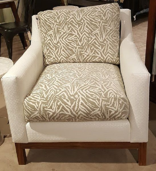 652 Chair By Burton James  South Park White Fabric @ Heritage Furniture  Outlet